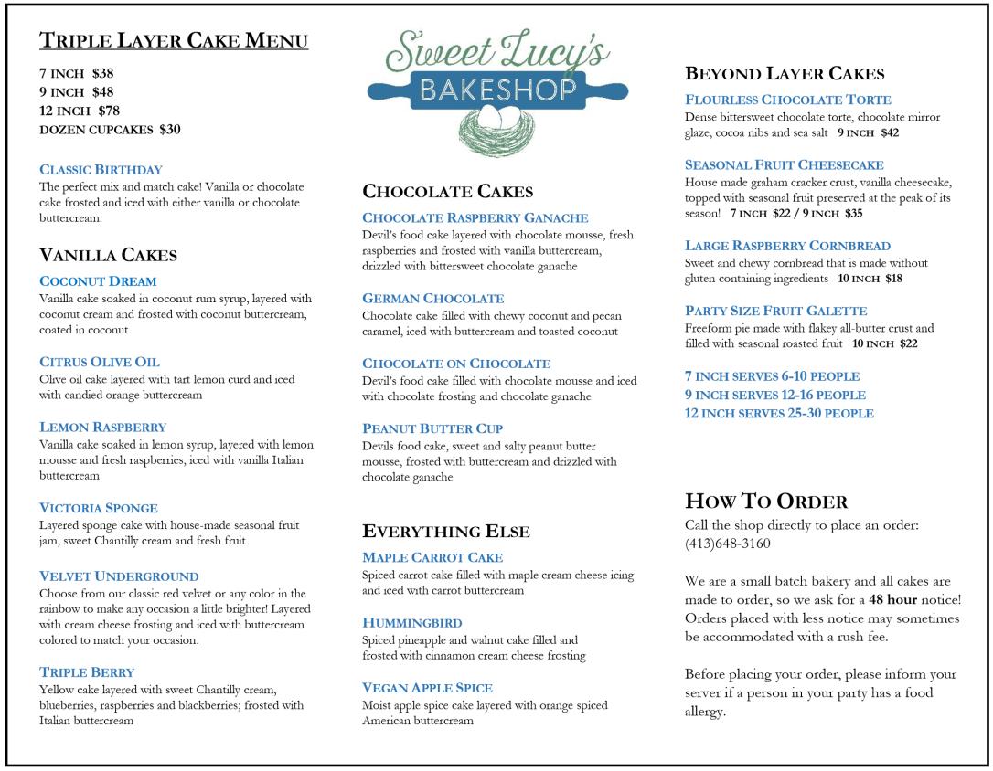 Cake menu 2019